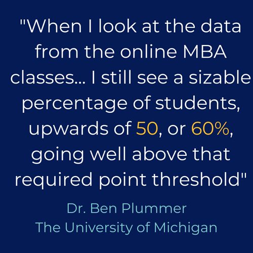 When I look at the data from online mba classes..I still see a sizable upwards of 50 or 60% going well above the required point threshold- Dr. Ben Plummer The University of Michigan