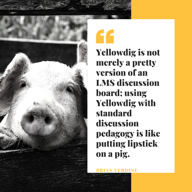 Yellowdig is not merely a pretty version of an LMS discussion board; using Yellowdig with SDP is like putting lipstick on a pig.