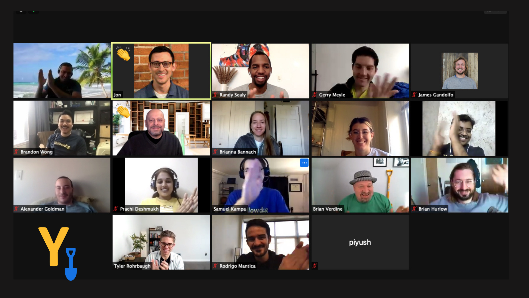 Yellowdig team on zoom clapping at the end of a team meeting